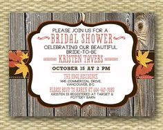 western fall wedding invitations | Western Wood Autumn/Fall Bridal/Wedding or Baby Shower Invitation ...