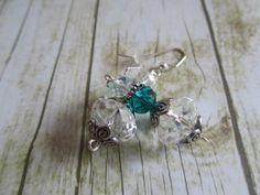 Teal Crystal Earrings Crystal Earrings by BrownBeaverBeadery, $12.00