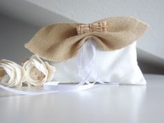 Ring pillow with burlap bow for country wedding - OOAK