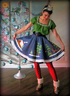 Cassie Stephens: DIY: Christmas Tablecloth to Skirt AND Gold Dotted Boots! Perfect for ugly christmas sweater party! Diy Christmas Tree Skirt, Diy Ugly Christmas Sweater, Christmas Table Cloth, Tacky Christmas, Ugly Sweater Party, Christmas Crafts, Christmas Scenes, Christmas Ideas, Whoville Costumes