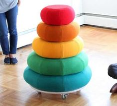 colorful pouffs, kids playroom ideas