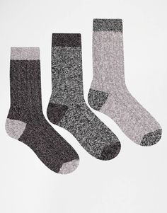 ASOS 3 Pack Boot Socks With Contrast Heel And Toe
