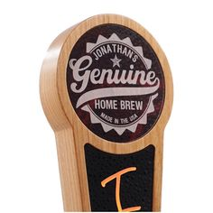 You can personalize this beautiful tap handle with your choice of text. It features a laser engraved marbled acrylic insert with our Genuine Home Brew logo and a black acrylic insert for use with liquid chalk pens.