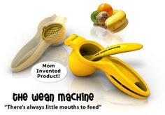 "The Wean Machine Baby Food Maker: Wean Machine Portable Baby Food Maker: Invented by a Mom, just fill, squeeze and feed right from the ""bowl"" with the included spoon. Comes with interchangeable grills to produce different consistencies, works with most soft foods, vegetables,fruits, pastas and fish. BPA and PVC free. Also available here. http://www.amazon.com/Wean-Machine-Portable-Baby-Maker/dp/B0029WNNPQ"
