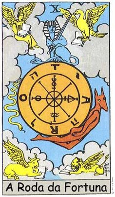 The Wheel of Major Arcana tarot card from the Rider-Waite (A.E Waite) Tarot deck. Signifies destiny, fate, opportunities, new developments.-I'm learning how to do Tarot for fun/amusement and for meditation/spiritual connections etc. Major Arcana Cards, Tarot Major Arcana, Wheel Of Fortune Tarot, Tarot Rider Waite, Tarot Waite, Rose Croix, Fortune Cards, Tarot Decks, Witches
