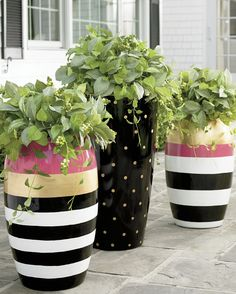 Fill outdoor planters with colorful blooms to transform your backyard or patio. Find large planters, urn planters, window boxes and more at Grandin Road. Painted Flower Pots, Painted Pots, Painted Pebbles, Small Urns, Pot Jardin, Garden Pots, Balcony Gardening, Container Gardening, Outdoor Gardens