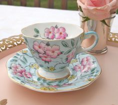 Foley Springdale Blue and Pink Floral Chintz Fine China Teacup Hand Painted - England Circa 1930's 40's  by HouseofLucien