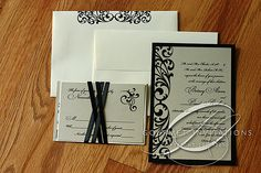 Black and champagne wedding invitations