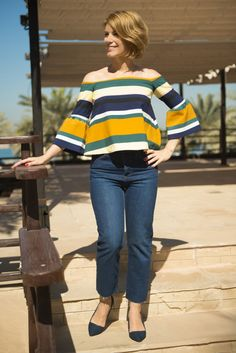 Two trends in one top: mega stripes and cold shoulders.. oh la la!! more on my blog: myfuntasticlife.com