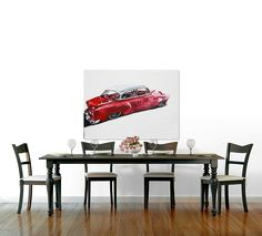 Sweet Red car oil painting illustration by Aiden Taillard Design Art, Dining Table, Sweet, Red, Painting, Furniture, Home Decor, Candy, Decoration Home