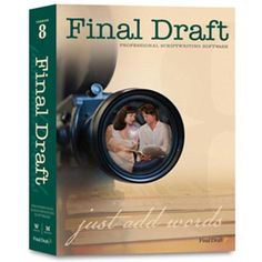 Final Draft v.8.0 Scriptwriting Software by Final Draft. $245.82. Final Draft v.8.0 Scriptwriting SoftwareliStory Development Features: liSend to Script: Send copy from the Index Card Summary directly to your scriptliScene View: Outline your script ideas and reorder scenes in this high level overviewliScene Navigator: Manage and view the important details of your scene in this sortable floating palletliScene Properties Inspector (SPI): Add scene titles and colors to track your ...
