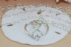 Heart Infinity Necklace Sterling Silver Heart by ornatetreasures