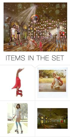 """""""Roller Derby"""" by amceren ❤ liked on Polyvore featuring art, contest, rollerskates, rollerderby, artset and amceren"""