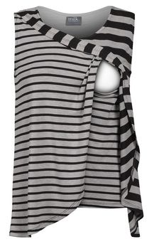 248586caa7cd1 Contrast striped tulip-front nursing top - Milk Nursingwear Nursing Tank,  Nursing Wear,