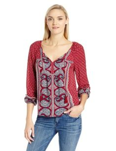 Lucky Brand Women's Kat Mixed Print Top, Red Multi, Large Trendy Outfits, Cool Outfits, Fashion Outfits, Women's Fashion, Fashion Deals, Scarf Top, Mixing Prints, Lucky Brand, What To Wear
