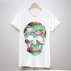 Nuevo-Calavera-Flamingo-T-Shirt-Estampado-Tumblr-Hipster-mujeres-Fresco-SWAG-mejores-hombres
