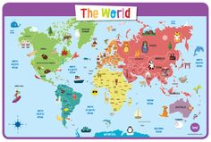 This world map is especially suited to kids, with fun graphics, easy to read tags and bright colors. Our peel and stick kids world map decal is also dry-erase! Free Printable World Map, Free Printables, World Atlas Map, Element Chemistry, Continents And Oceans, Kids World Map, Baby Learning, Learning Resources, Kids Education