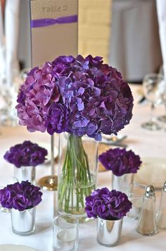 2019 brides favorite weeding color stylish shade of purple-purple hydrangeas wedding centerpieces, spring wedding flowers, wedding decorations Purple Hydrangea Wedding, Purple Wedding Centerpieces, Purple Wedding Bouquets, Purple Hydrangeas, Simple Centerpieces, Centerpiece Ideas, Bridesmaid Bouquets, Hydrangea Centerpieces, Bridal Bouquets