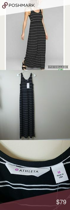 """NWT Athleta Striped Maxi Dress NWT Athleta Black & White Striped Maxi dress.  Size medium. Soft, silky, breathable modal with plenty of stretch.  This will quickly become a staple in your closet! 16"""" across the bust  (unstretched).  58.5"""" long. 92% modal, 8% spandex. Athleta Dresses Maxi"""