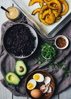 Black rice noodles form the base for this noodle bowl with roasted squash and creamy miso dressing.