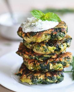 4. Zucchini Feta Spinach Pancakes #stpatricksday #healthy #green #recipes http://greatist.com/health/healthy-green-recipes-st-patricks-day