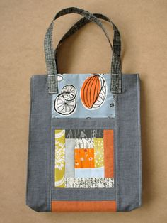 Love the understated way the patchwork block is incorporated in the bag