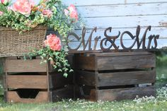Crates and wooden sign available to rent