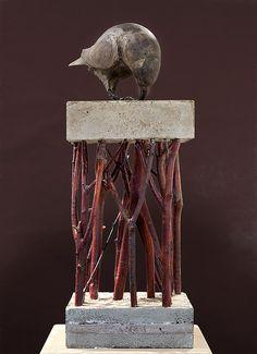 materiales de la naturaleza y de la industria, ramas secas y concreto, #arte de Asha Robertson