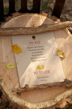 Printable Woodland Menu. Display all the goodness this party has to offer to every one of the baby shower guests. Like this idea? Check out the HUGGIES® Printable Board: pinterest.com/huggies/printables