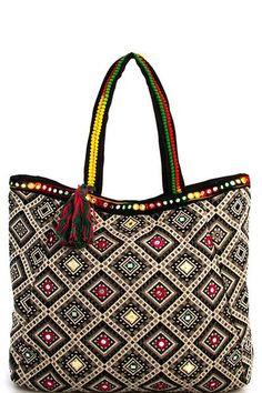 Boho Medallion Tassel Tote Handbag
