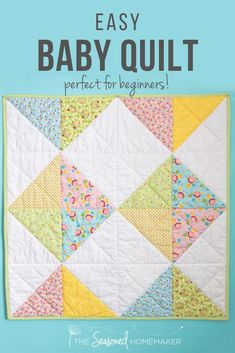 Everyone needs a simple baby quilt pattern in their arsenal. Find one that can be easily assembled and quilted and you'll never wonder what to gift to give at the next baby shower you attend. # baby patchwork quilt A Simple Baby Quilt that Anyone Can Make Baby Quilts Easy, Baby Boy Quilt Patterns, Patchwork Quilt Patterns, Beginner Quilt Patterns, Baby Girl Quilts, Quilting For Beginners, Simple Baby Quilts Ideas, Quilting Patterns, Baby Quilt For Girls