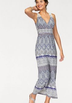AJC Maxikleid im Bohemian Style mit Spitze am Rücken für 49,99€. Festival-Strandkleid in Maxiform mit Allover-Ethno-Druck von AJC bei OTTO