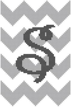 """Chevron Style with Initial Cross Stitch in Grey & Black small 4"""" x 6"""""""
