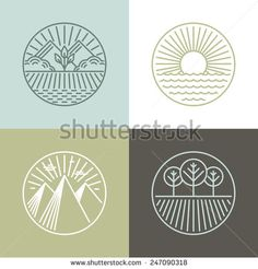 Vector line badges with landscapes and nature icons - round labels - stock vector