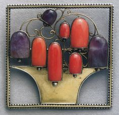 Josef Hoffmann(12/151870), brooch. He designed for mass-production & handcraft; was prolific in metalwork design, textile & fashion design; considered everything he created a work of art; brought a new level of elegance & simplicity to domestic & built environments; established Wiener Werkstätte (Vienna Workshops) as a collaborative between the public, designers, and craftsmen. Goal was to elevate the role of the craftsman; the decorative arts to be given the same value as the fine arts.