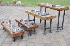 DIY dog food bowls on rustic pipe stand