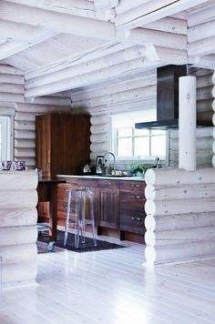 modern log cabin interior