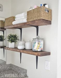 FRENCH COUNTRY COTTAGE: Feathered Nest Friday wood shelves with baskets