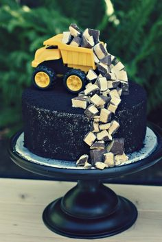 Dump Truck cake.-Hud's 4th Birthday/Mother's Day Luncheon