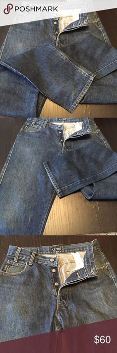 """Vintage Armani jeans 29 Simin T 29x34"""" Authentic  AJ Armani jeans, Simin T all cotton with button fly.  Almost 100% these are vintage read size 29, med/dark wash, black leather logo patch on back.  Waist; 29 Inseam34.5"""" Total length; 45"""" Rise; 11.5"""" Top thigh; 11"""" Bottom leg; 7"""" Armani Jeans Jeans Straight"""