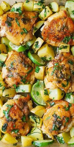 Cilantro-Lime Chicken Thighs and Potatoes: olive oil, garlic, cilantro and freshly squeezed lime juice!