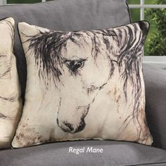 Regal Mane Horse Pillow - Horse Themed Gifts, Clothing, Jewelry and Accessories all for Horse Lovers | Back In The Saddle