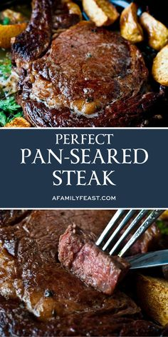 Cooking the perfect pan-seared steak is so easy (and it comes out so deliciously good) youll become an expert at. Our recipe for the perfect pan-seared steak is great for weekends weeknight meals and great for dinner parties. Seared Steak Recipe, Steak Recipes Pan, Steak Dinner Recipes, Grilled Steak Recipes, Meat Recipes, Cooking Recipes, Simple Steak Recipes, Pan Fried Sirloin Steak Recipe, Recipe For Steak