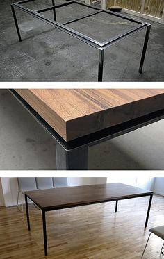 Custom Steel + Wood Table _ Face Design + Fabrication: Log