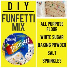 Funfetti Mix Recipe: Add mix to butter, shortening, milk, egg whites, and vanilla and almond extracts for a delicious cake/cupcake batter. Homemade Dry Mixes, Homemade Spices, Homemade Seasonings, Bisquick Pancake Mix, Moist Yellow Cakes, White Cake Mixes, Seasoning Mixes, Copycat Recipes, Diy Food