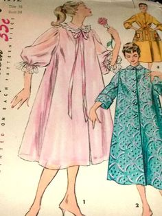 Sewing Pattern Vintage 50s Robe Nightgown by hookandneedlepattern, $6.00