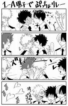 Izuku, Shouto, Katsuki, Denki, Eijirou, text, comic, kissing, blushing, yaoi, funny, cute, hearts; My Hero Academia