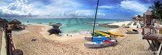 La playa del hotel en la  Riviera Maya, el Occidental Allegro Playacar, en Playa del Carmen; inolvidable lugar, maravillosas instalaciones y un personal que no olvidaré jamás por su simpatía, amabilidad y buen hacer