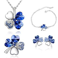 Lucky Four Leaf Clover Jewelry Sets Crystal from Swarovski Elements White Gold-Color Necklace Earrings Bracelets Brooches 4300