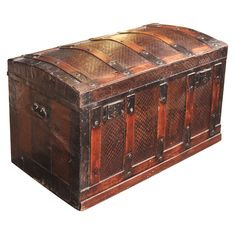 SPAIN LATE 19TH CENTURY A 19TH CENTURY TRUNK OF EMBOSSED METAL AND WOOD.
